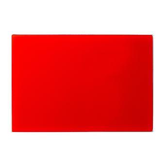 لوحة تقطيع التوقف عن طريق سطح العمل الزجاج | 30 × 20 سم - أحمر | حامي خفف غير زلة لأسطح المطبخ