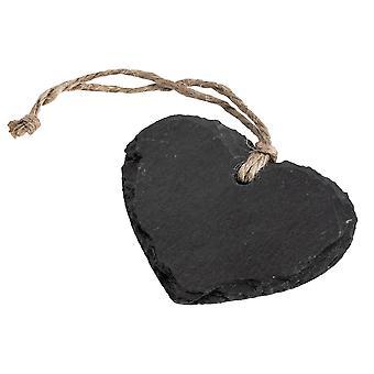Liten hängande dekorativt hjärta Skiffer Tag