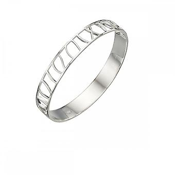 Elements Silver Half Cut Out Oval Bangle B5008