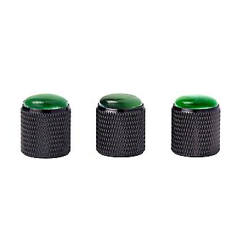 3PCS Green Gem Dome Cylinder Knobs Black Metal Guitar Knobs