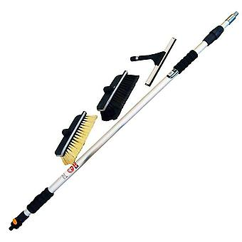 Telescopic Window & Car Cleaning Wash Set 2 Brushes Squeegee Water Flow Control