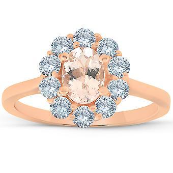 """טבעת יהלום מורגנטיט הילה סגלגלת 1 1/4 Ct TW אובלית 14 ק""""מ זהב ורד"""