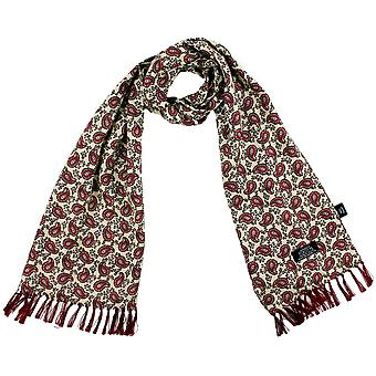 Ties Planet Tootal Ivory, Red, Burgundy & White Paisley Men's Mod Thin Scarf