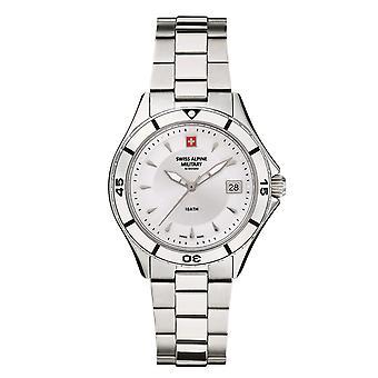 Sveitsin Alppien sotilaallinen naisten kello analoginen kvartsi 7740.1138SAM ruostumaton teräs