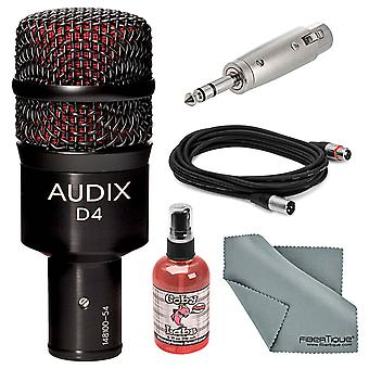 Audix d4 hypercardioid dynamic drum & instrument microphone bundle with adapter + xlr cable + mic sanitizer + fibertique cleani