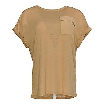 DG2 por Diane Gilman Women's Top Bege Tunic Pocket Short Sleeve 723-680