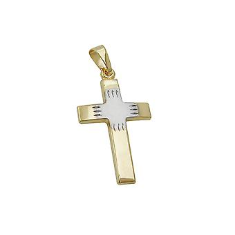 Anhänger Kreuz bicolored 9k Gold