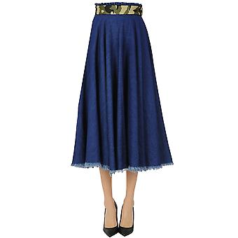 White Sand Ezgl429016 Women's Blue Cotton Skirt