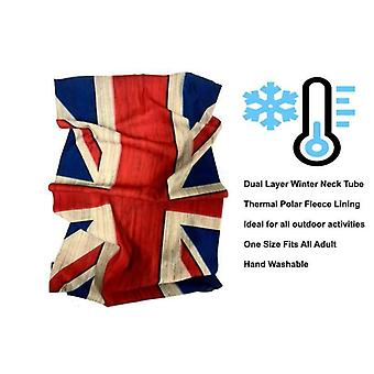 Rétro Union Jack Motorcycle Neck Tube Face Mask Thermal Fleece Lined One Size
