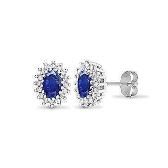 Jewelco Londen 9ct witgoud cluster set ronde H I2 0,25 Ct Diamond en ovaal blauw 1.1 CT saffier cluster Stud Earrings