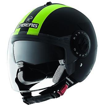 Caberg Riviera V2 Legend Hi-Vizion Open Face Helmet Black Green XS 53-54cm