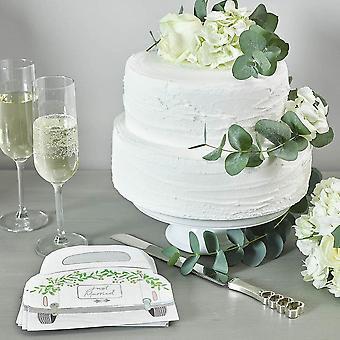 Botanische net getrouwde auto bruiloft bloemen papieren partij servetten x 16
