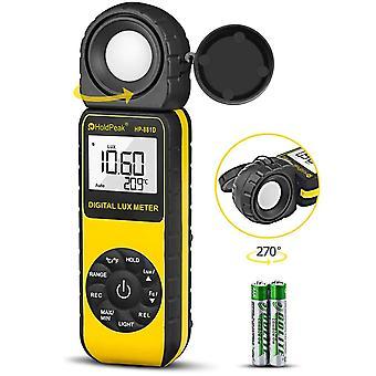 Holdpeak 881e handheld digital light meter, 0.01~300,000 lux (0.01~30,000 fc) measuring ranges tempe