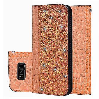 Samsung Galaxy J6 Glossy Flip Flip Cover Cover - Oranje