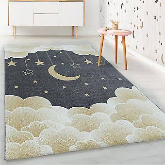 ShortFlor niños alfombra amarilla estrellado cielo luna nubes diseño vivero suave