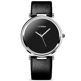 SINOBI 9393 Ultra Thin Unisex Wrist Watch Genuine Leather Strap Casual Style Qu