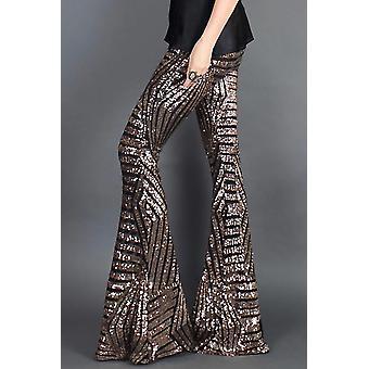 Chic Brown Sequin Wide Leg Pants