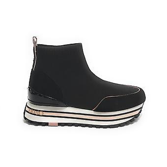 Women's Shoes Sneaker Sock Liu-jo Maxi Wonder In Suede/ Black Fabric Ds21lj01