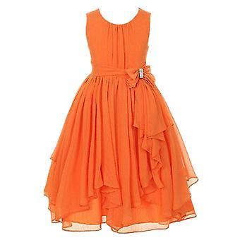 Dievčatá Princezná Kvetinová párty Formálne šaty Dark Orange 9-10 Rokov