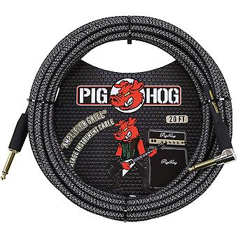 "Pig hog pch20agr right-angle 1/4"" to 1/4"" amplifier grill guitar instrument cable, 20 feet"