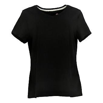 Isaac Mizrahi Live! Dames Top Essentials Pima T-Shirt Zwart A380859