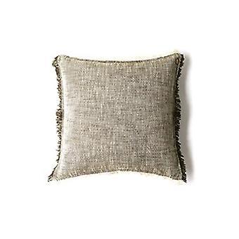 Set of 2 Khaki Green Soft Chambray Accent Pillows