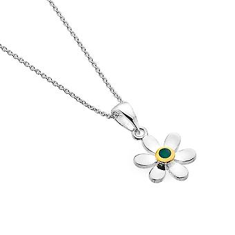 Sterling Silver Pendant Necklace - Origins Daisy + Emerald + Gold Plated
