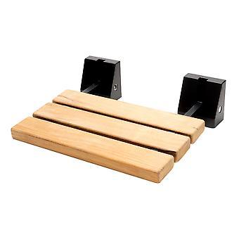 """Negro Mate 16"""" Asiento de ducha de teca plegable ancho con hardware cuadrado"""