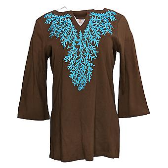 Quacker Factory Women's Top Living Coral Pastel Embroidered Brown A198802