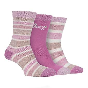 Jeep Womens 3 Pack Performance Boot Socks Ladies Fully Terry Cushioned Foot