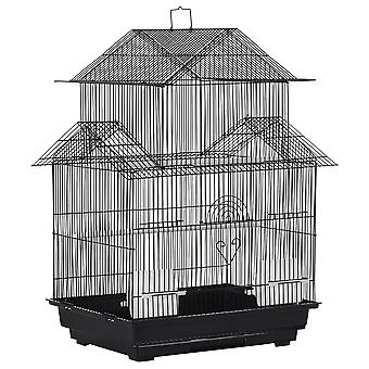 PawHut Metal Bird Cage with Plastic Perch Food Container Tray Handle Pet Supply Small for Finch Canary Budgie 51 x 40 x 67cm Black