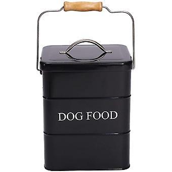 FengChun Dog Treats tin and dog Food Storage Tin with Lid and with Spoon-Dog Food-Black
