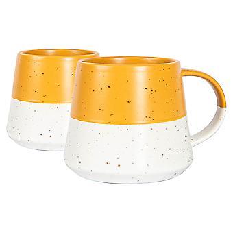 2x keramische gedrenkte gevlekte buik koffie mokken patroon theekop 370ml mosterd