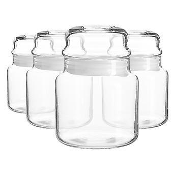 4x Sera Glass Storage Jars Kitchen Sweet Candy Food Pots Sealed Lid 635ml Blanco