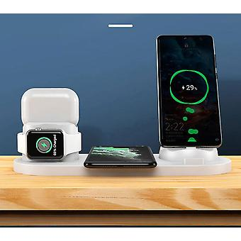 10W Qi Wireless Charger Station 6 In 1 For Iphone Airpods Micro USB Type C Stand Phone Chargers