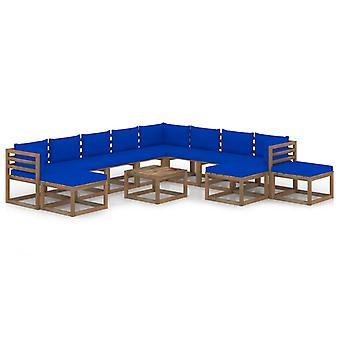vidaXL 12 pcs. Garden Lounge Set with Cushion Blue