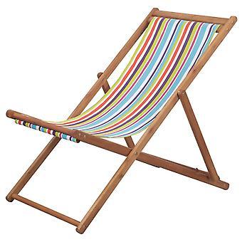 vidaXL Składana tkanina na krzesło plażowe i drewniana rama Wielobarwna