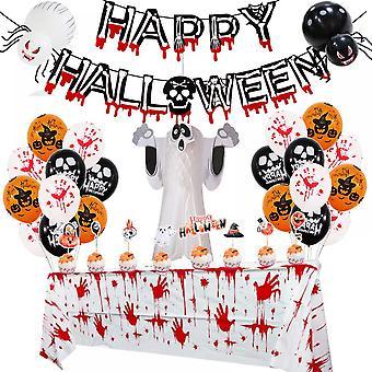 Lohill Happy Halloween Balloner Hængende Garland Banner Blood Skulls, Ghost Door Hængende Party Decors Set