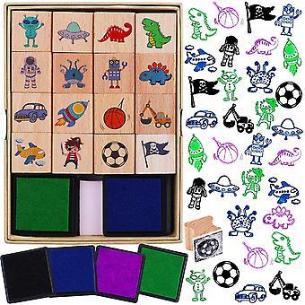 16pcs Hölzern Stempel für Kinder Jungen Basteln mit Stempelkissen 4pcs, Dinosaurier Fußball Weltraum