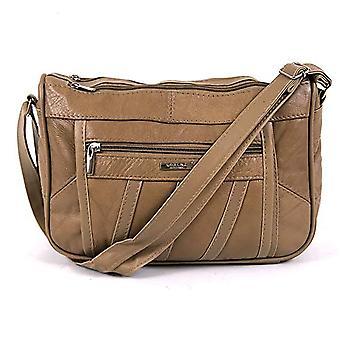 Damer Äkta Läder Dubbel Zippad Handväska