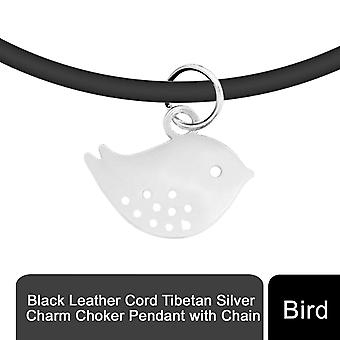 Svart läder sladd tibetansk silver charm choker hänge med kedja, fågel