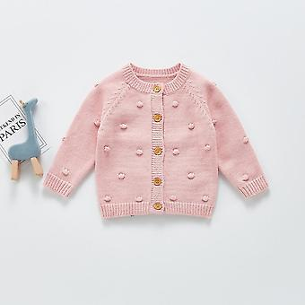 2021 Hand Hook Bubble Knit Cardigan Button Sweater Fille Baby Sweater Top Knit Sweater Baby Girl Vêtements