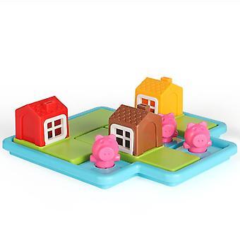 שלושה חזירונים קטנים חכמים מחבואים משחקי לוח אתגרים מיומנות בניית פאזל לוגיקה משחק