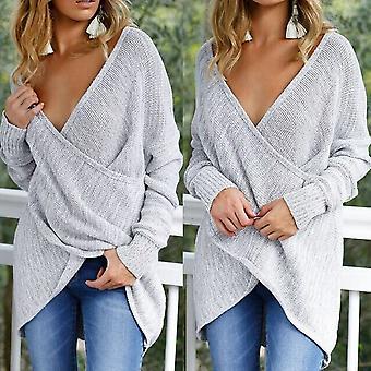 2017 Winter Fashion Women Sexy Long Sleeve Deep V Neck Knitwear Sweater