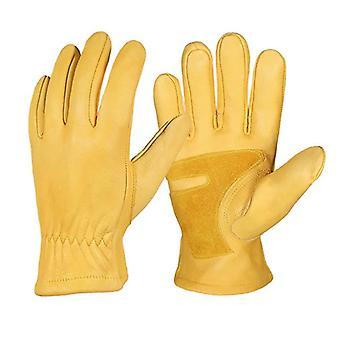 1 Pair Flex Grip Leather Work Gloves Stretchable Wrist Tough Cowhide Working Glove