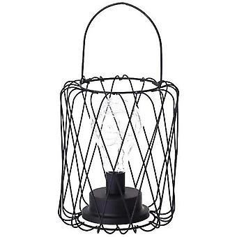 Tischleuchte aus modernem schwarz drahtaus Eisen - Käfig Stil - Retro Nachttischlampe - funktioniert mit Batterien