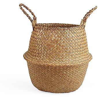 Omzoomde handgeweven zeegras mand creatieve inrichting opvouwbare stro bloem mand, S