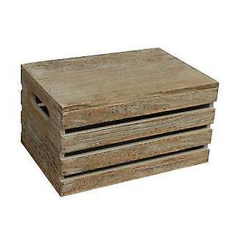 Large Oak Effect Wooden Lidded Storage Box