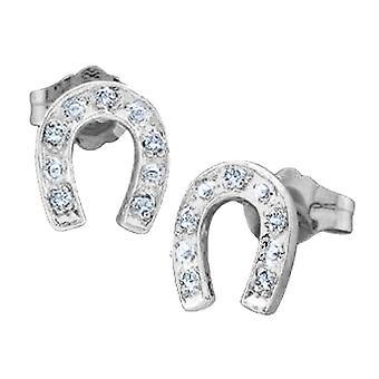 Diamond Horse Shoe Earrings 1/20 Carat (ctw) in 10K White Gold