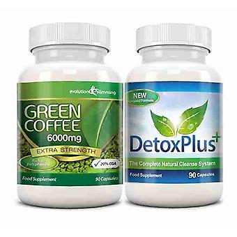Green Coffee Bean Extract 6000mg Detox Combo Pack - 1 Month Supply - Fat Burning and Colon Cleansing - Evolution Slimming